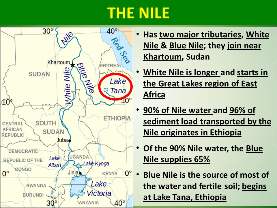 Has two major tributaries, White Nile & Blue Nile; they join near Khartoum, Sudan White Nile is longer and starts in the Great Lakes region of East Af