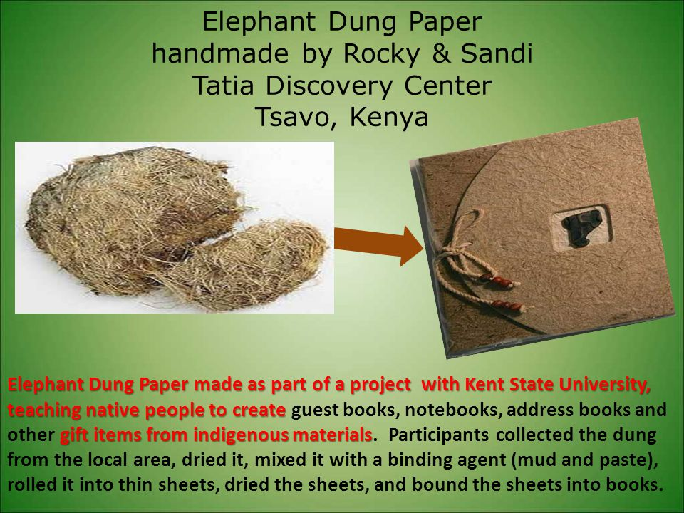 Elephant Dung Paper handmade by Rocky & Sandi Tatia Discovery Center Tsavo, Kenya Elephant Dung Paper made as part of a project with Kent State Univer