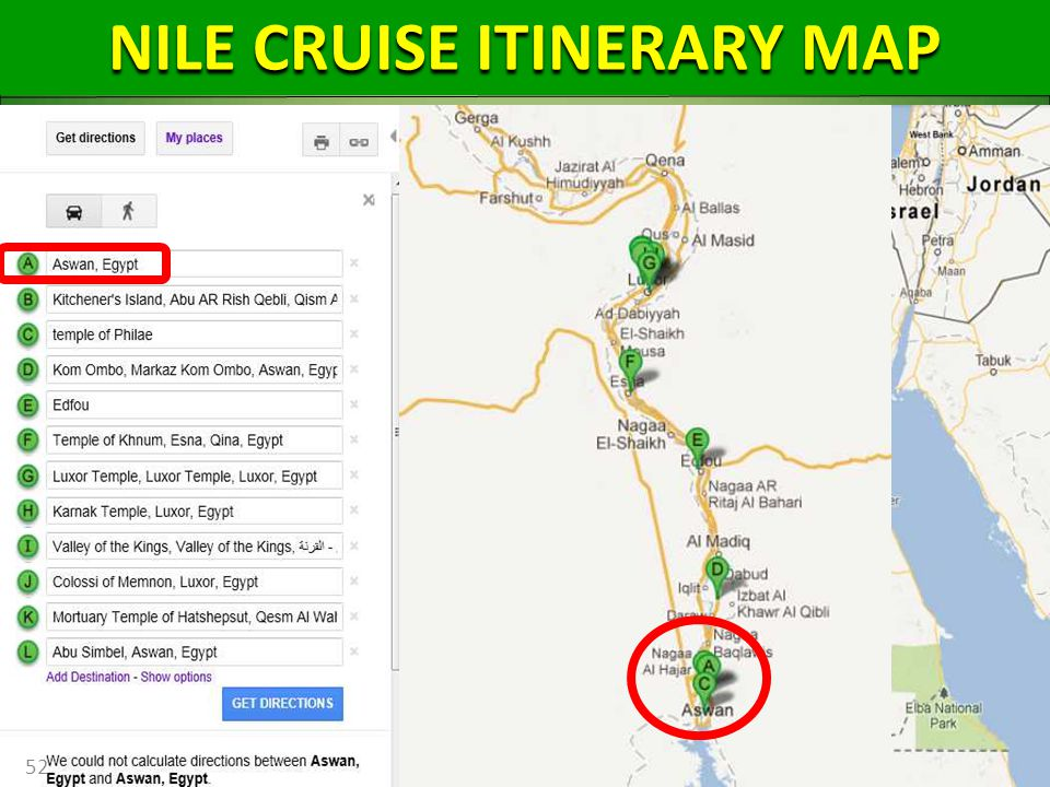 52 NILE CRUISE ITINERARY MAP