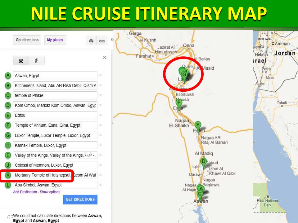 63 NILE CRUISE ITINERARY MAP