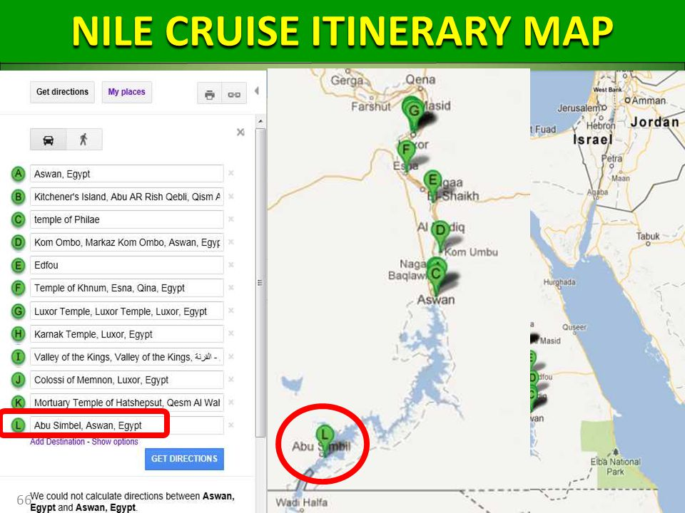 66 NILE CRUISE ITINERARY MAP