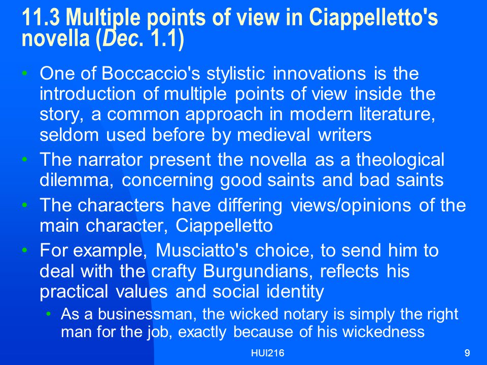 HUI2169 11.3 Multiple points of view in Ciappelletto s novella ( Dec.