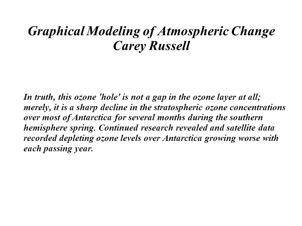 Graphical Modeling of Atmospheric Change Carey Russell In truth, this ozone hole is not a gap in the ozone layer at all; merely, it is a sharp decline in the stratospheric ozone concentrations over most of Antarctica for several months during the southern hemisphere spring.