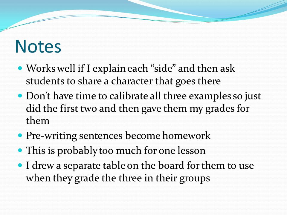 Notes Works well if I explain each side and then ask students to share a character that goes there Don't have time to calibrate all three examples so just did the first two and then gave them my grades for them Pre-writing sentences become homework This is probably too much for one lesson I drew a separate table on the board for them to use when they grade the three in their groups