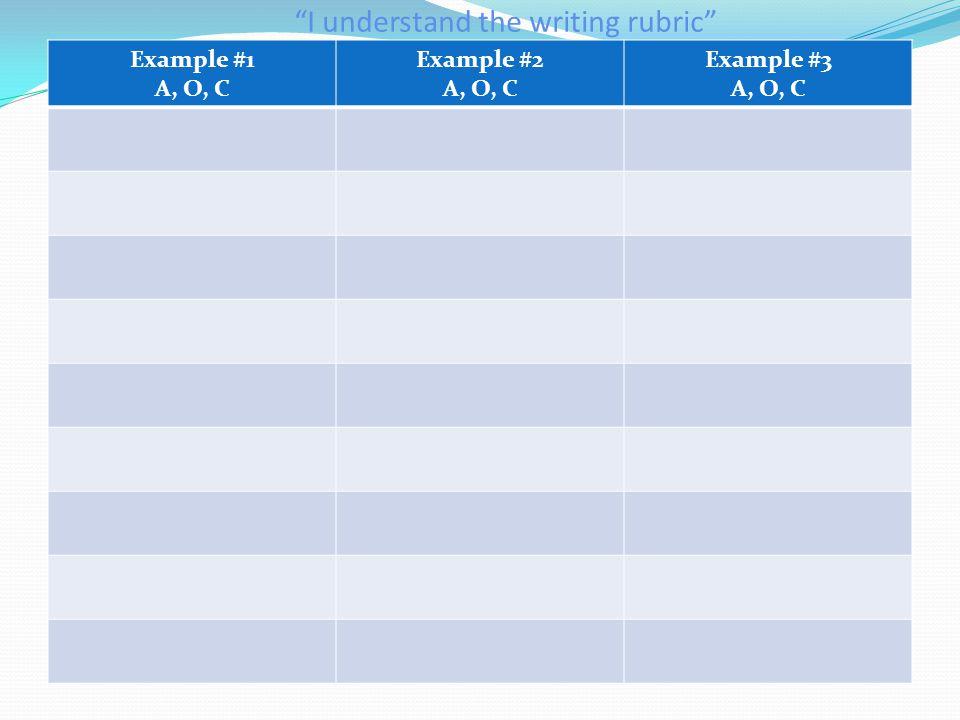 Example #1 A, O, C Example #2 A, O, C Example #3 A, O, C