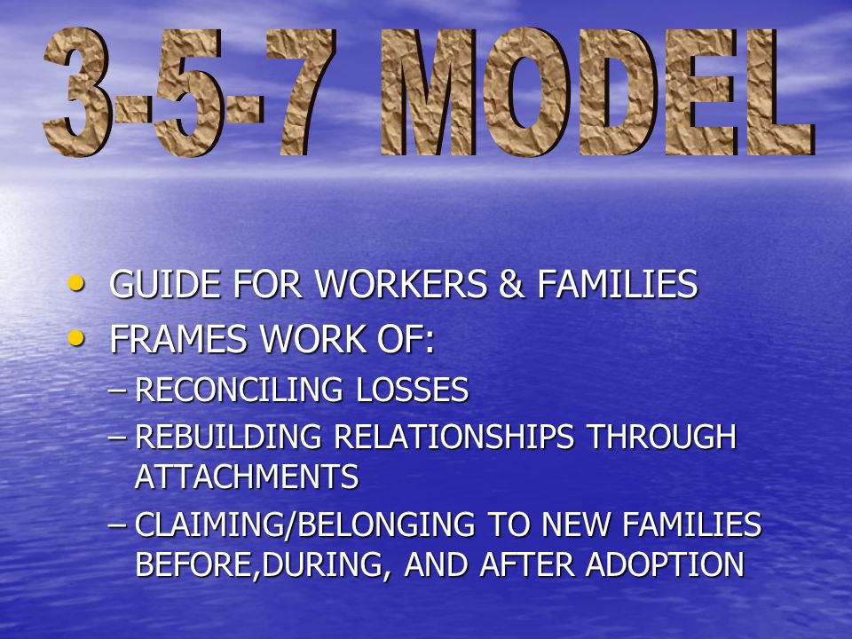 GUIDE FOR WORKERS & FAMILIES GUIDE FOR WORKERS & FAMILIES FRAMES WORK OF: FRAMES WORK OF: –RECONCILING LOSSES –REBUILDING RELATIONSHIPS THROUGH ATTACHMENTS –CLAIMING/BELONGING TO NEW FAMILIES BEFORE,DURING, AND AFTER ADOPTION