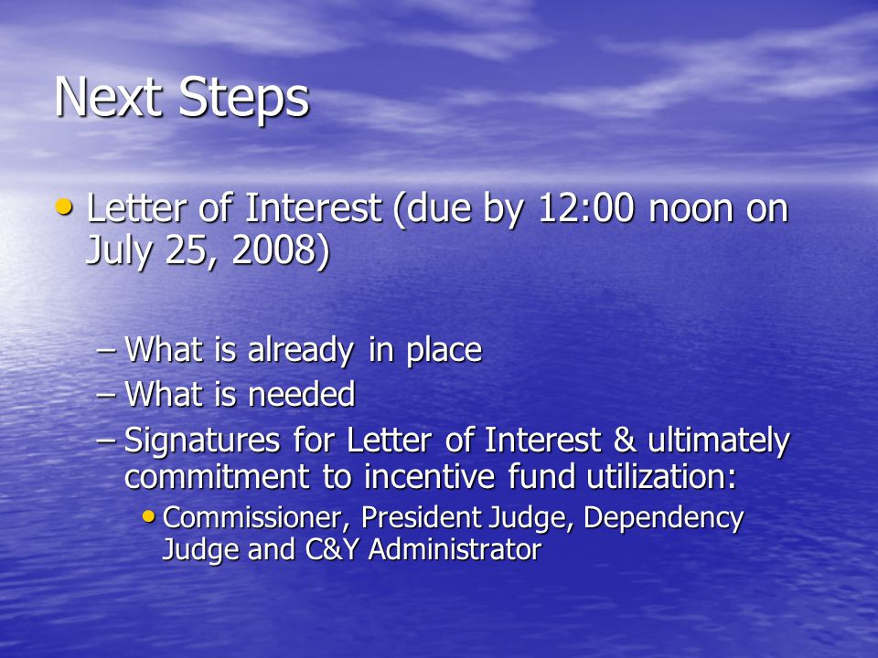 Next Steps Letter of Interest (due by 12:00 noon on July 25, 2008) Letter of Interest (due by 12:00 noon on July 25, 2008) –What is already in place –What is needed –Signatures for Letter of Interest & ultimately commitment to incentive fund utilization: Commissioner, President Judge, Dependency Judge and C&Y Administrator Commissioner, President Judge, Dependency Judge and C&Y Administrator