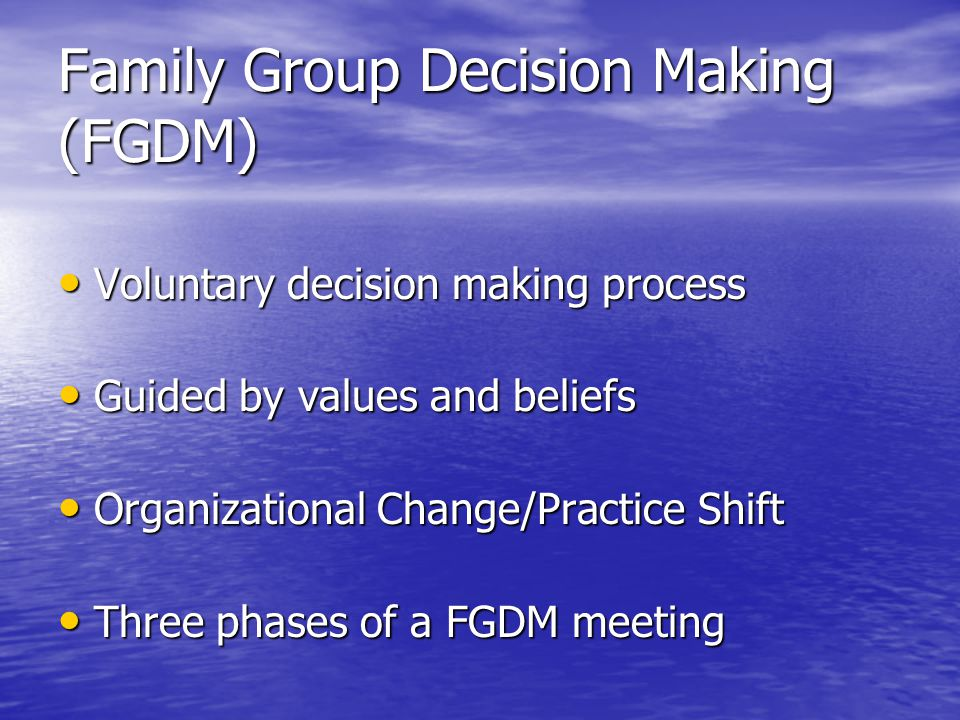 Family Finding Finds Families (extended families) Finds Families (extended families) Combines: common sense, social work, detective work, and technology Combines: common sense, social work, detective work, and technology Search for families at every stage with emphasis at intake Search for families at every stage with emphasis at intake Connects to other family focused practices Connects to other family focused practices Real work begins once family members are found Real work begins once family members are found