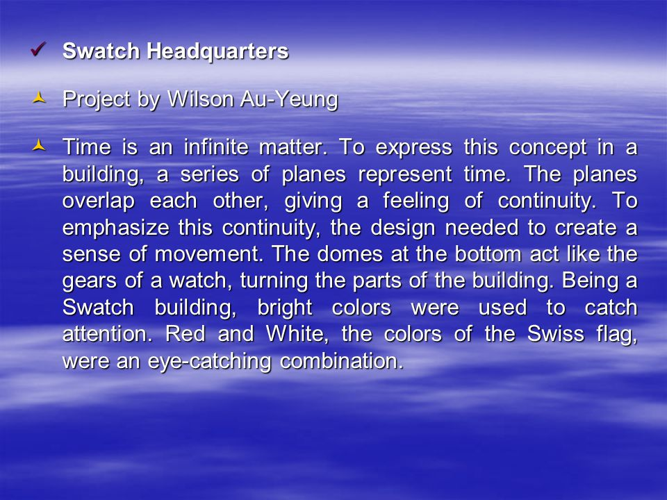 Swatch Headquarters Swatch Headquarters Project by Wilson Au-Yeung Project by Wilson Au-Yeung Time is an infinite matter.