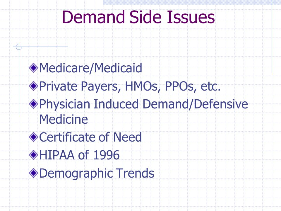 Demand Side Issues Medicare/Medicaid Private Payers, HMOs, PPOs, etc. Physician Induced Demand/Defensive Medicine Certificate of Need HIPAA of 1996 De