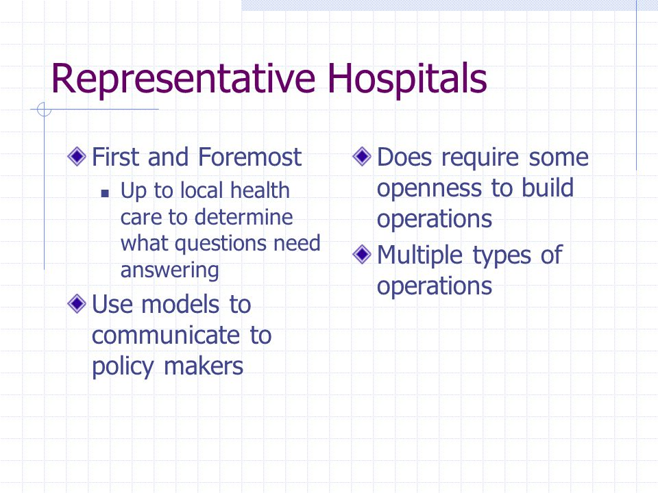 Representative Hospitals First and Foremost Up to local health care to determine what questions need answering Use models to communicate to policy mak
