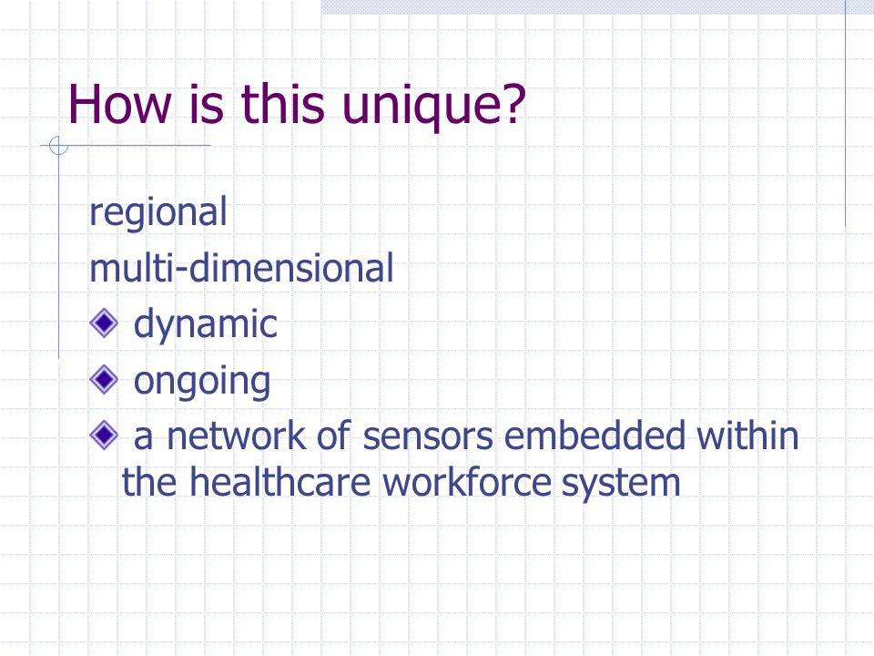How is this unique? regional multi-dimensional dynamic ongoing a network of sensors embedded within the healthcare workforce system