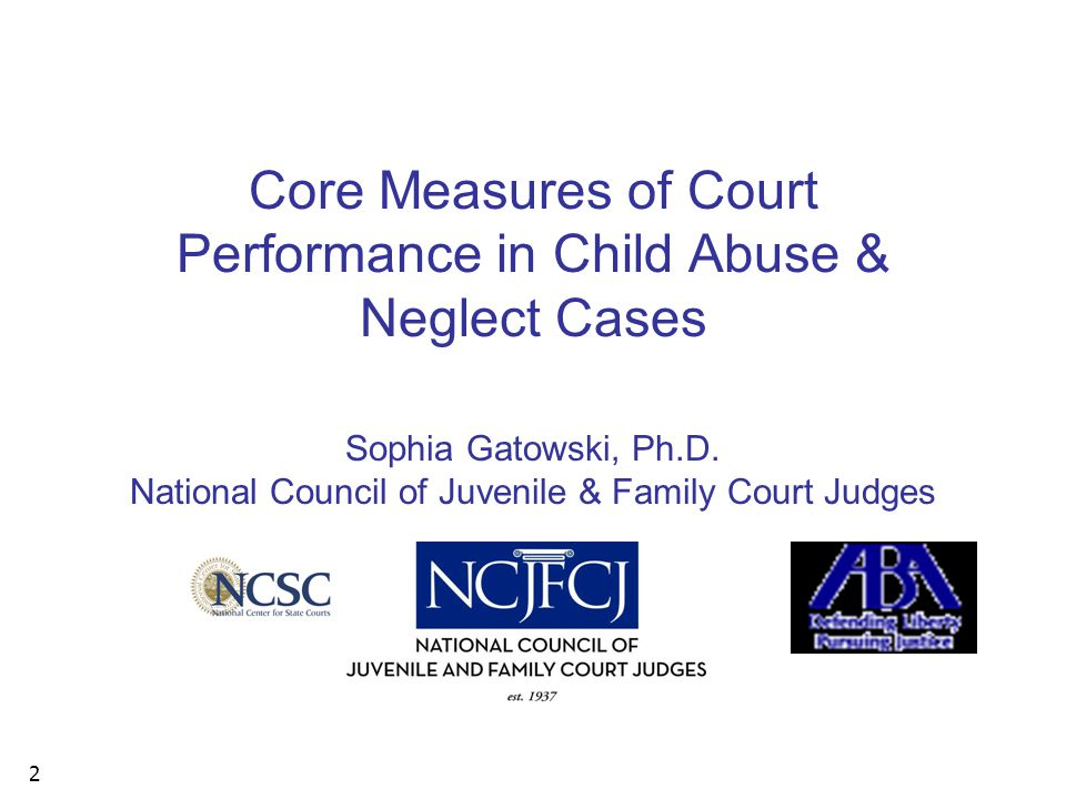 2 Core Measures of Court Performance in Child Abuse & Neglect Cases Sophia Gatowski, Ph.D.