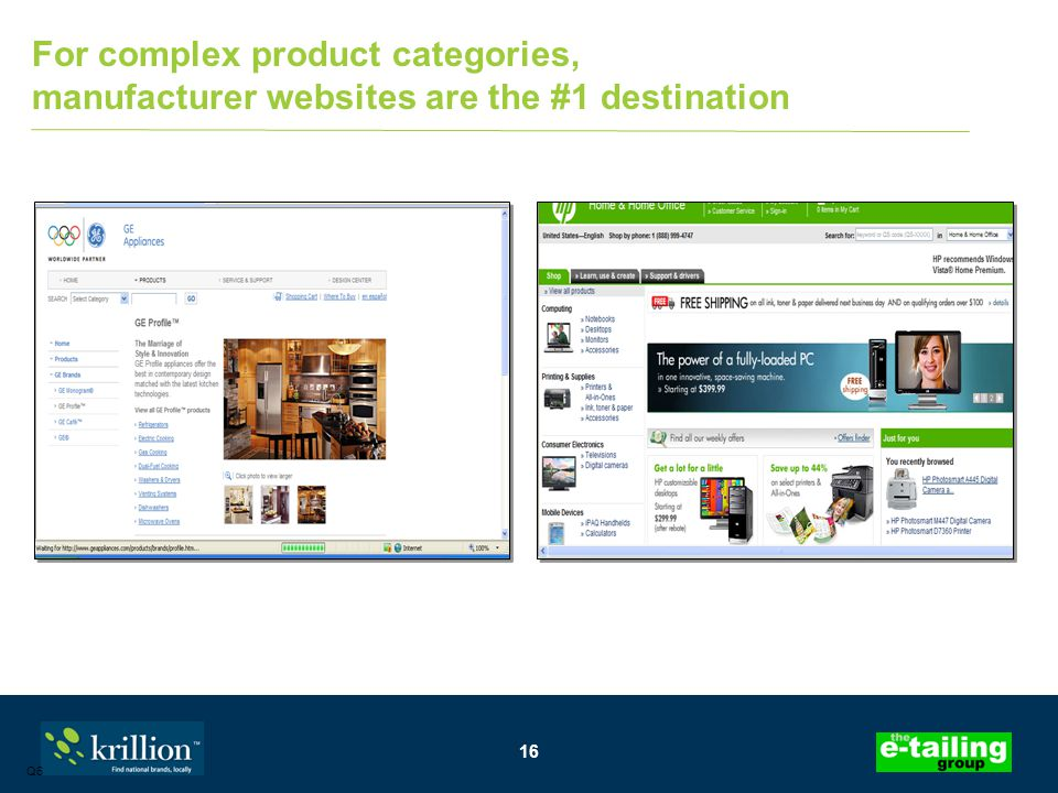 16 Q6 For complex product categories, manufacturer websites are the #1 destination