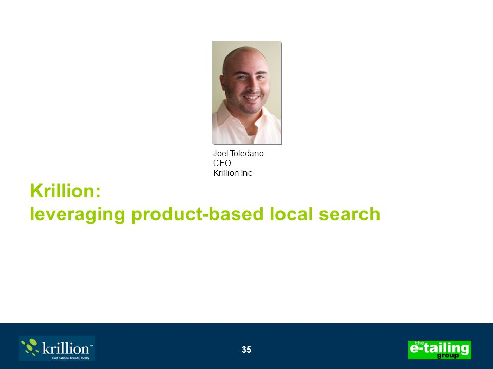 35 Krillion: leveraging product-based local search Joel Toledano CEO Krillion Inc