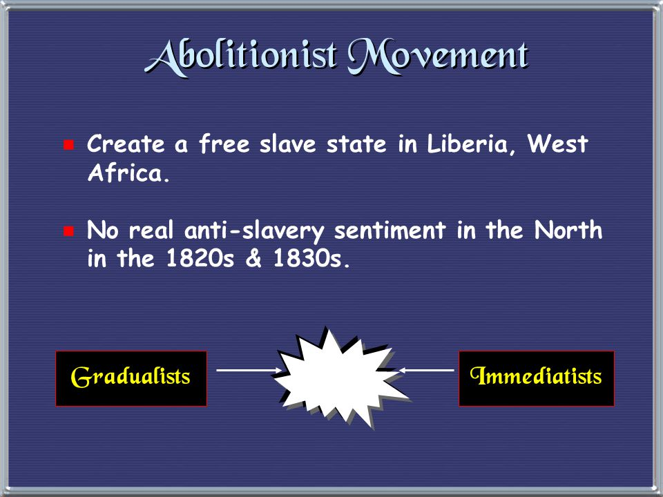 Abolitionist Movement  1816  American Colonization Society created (gradual, voluntary emancipation.