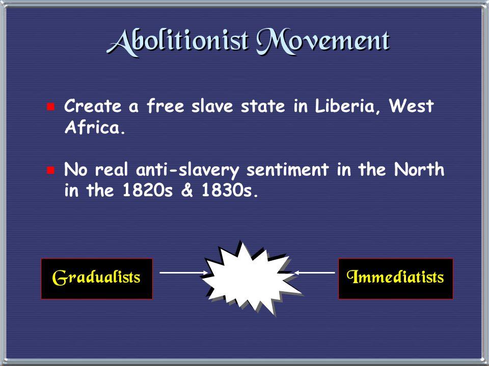 Abolitionist Movement  1816  American Colonization Society created (gradual, voluntary emancipation.