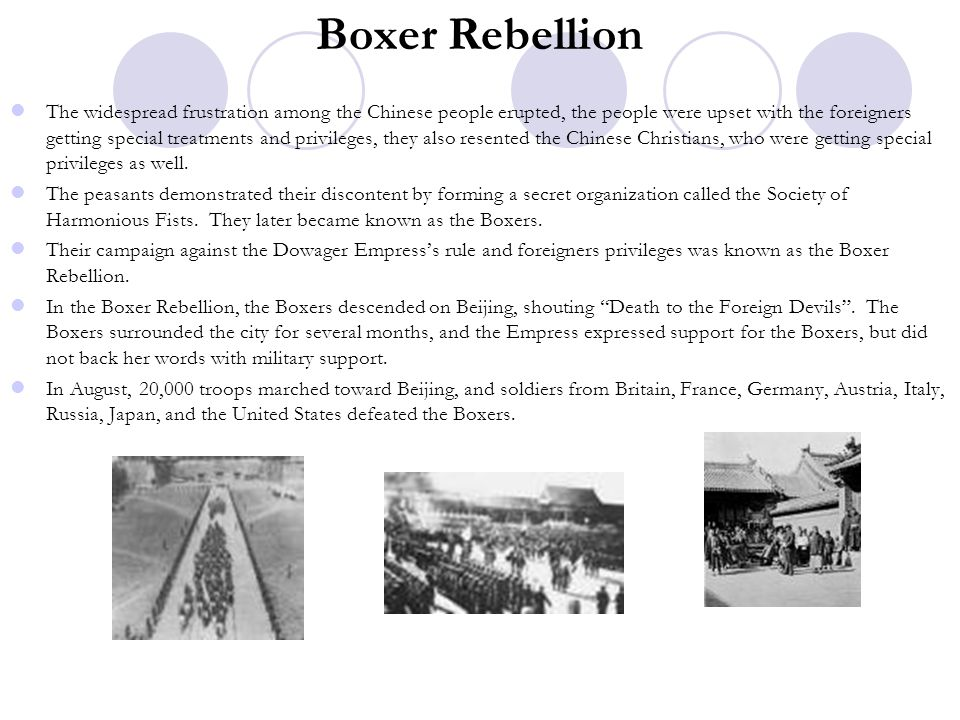 Boxer Rebellion The widespread frustration among the Chinese people erupted, the people were upset with the foreigners getting special treatments and