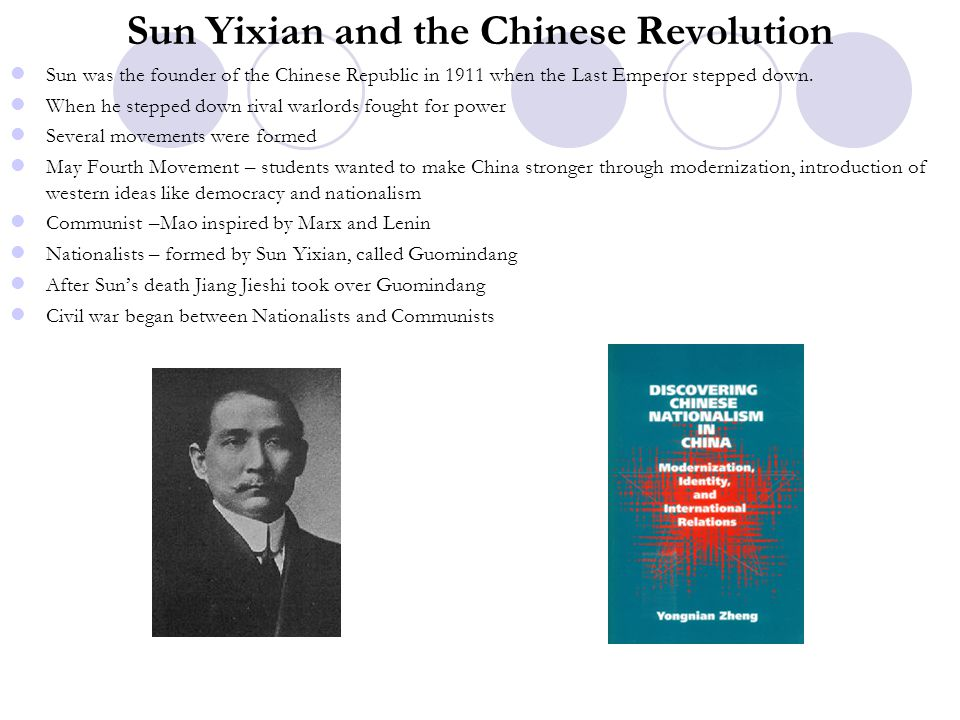 Sun Yixian and the Chinese Revolution Sun was the founder of the Chinese Republic in 1911 when the Last Emperor stepped down. When he stepped down riv