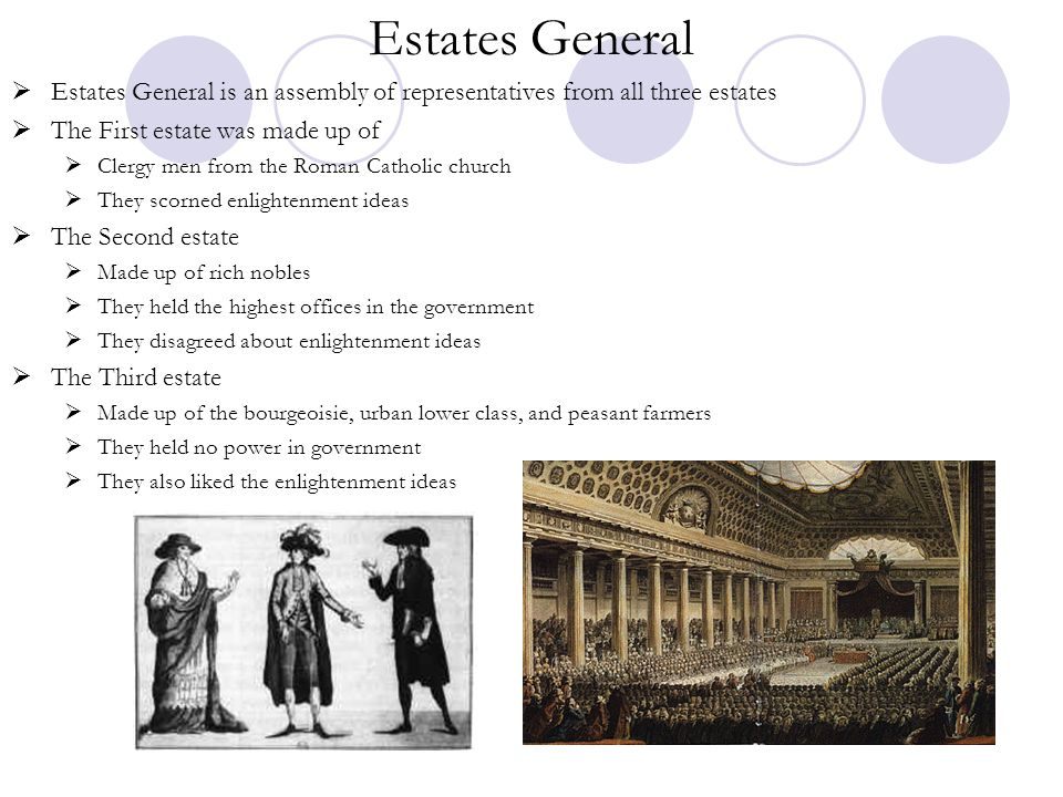 Estates General  Estates General is an assembly of representatives from all three estates  The First estate was made up of  Clergy men from the Rom