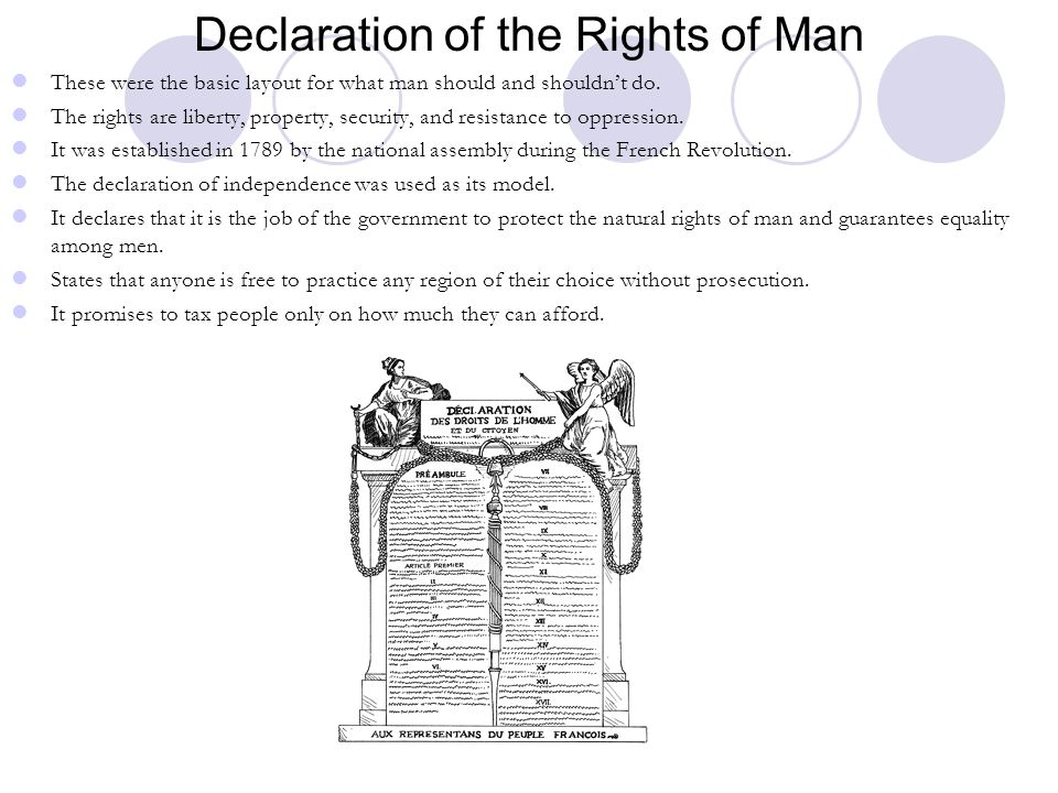 Declaration of the Rights of Man These were the basic layout for what man should and shouldn't do. The rights are liberty, property, security, and res