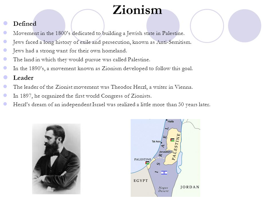Zionism Defined Movement in the 1800's dedicated to building a Jewish state in Palestine. Jews faced a long history of exile and persecution, known as