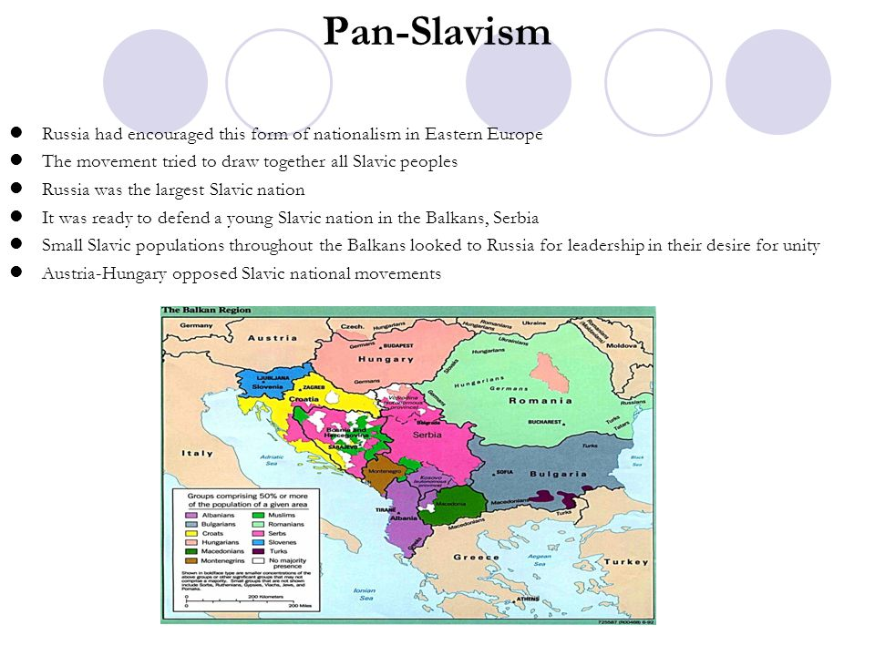 Pan-Slavism Russia had encouraged this form of nationalism in Eastern Europe The movement tried to draw together all Slavic peoples Russia was the lar
