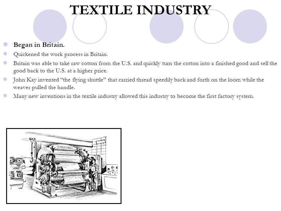 TEXTILE INDUSTRY Began in Britain. Quickened the work process in Britain. Britain was able to take raw cotton from the U.S. and quickly turn the cotto