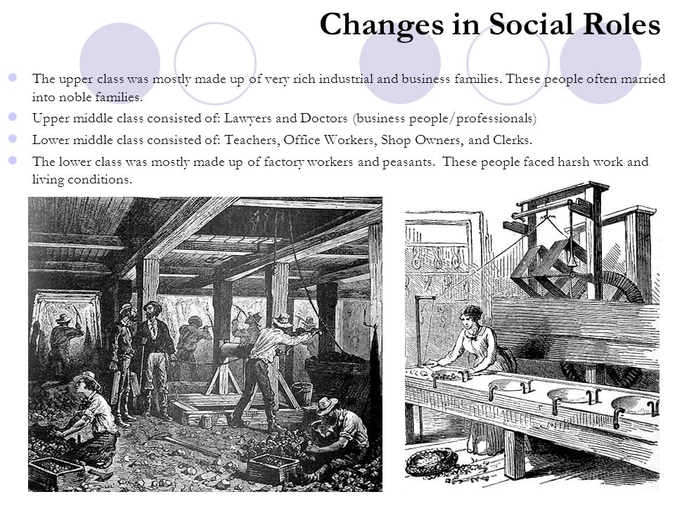 Changes in Social Roles The upper class was mostly made up of very rich industrial and business families. These people often married into noble famili