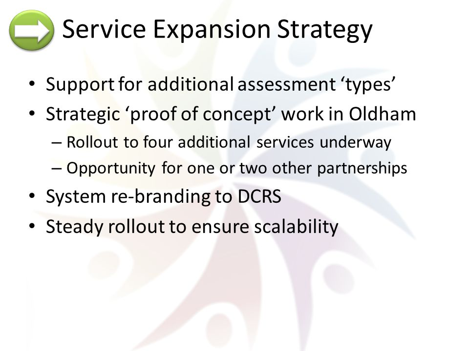Service Expansion Strategy Support for additional assessment 'types' Strategic 'proof of concept' work in Oldham – Rollout to four additional services underway – Opportunity for one or two other partnerships System re-branding to DCRS Steady rollout to ensure scalability