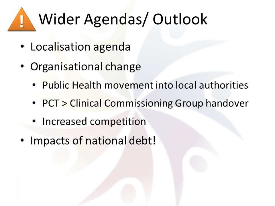 Wider Agendas/ Outlook Localisation agenda Organisational change Public Health movement into local authorities PCT > Clinical Commissioning Group handover Increased competition Impacts of national debt.