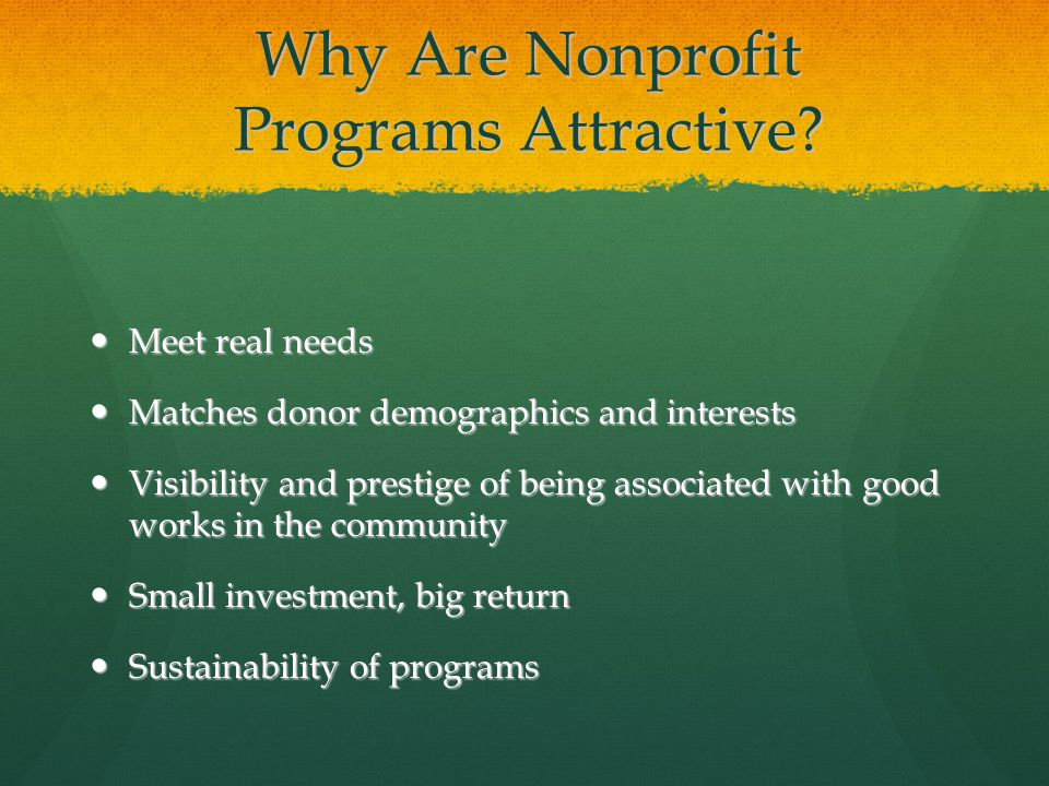 Why Are Nonprofit Programs Attractive? Meet real needs Meet real needs Matches donor demographics and interests Matches donor demographics and interes