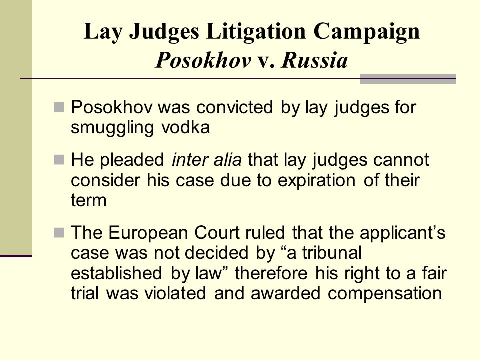 Lay Judges Litigation Campaign Posokhov v.