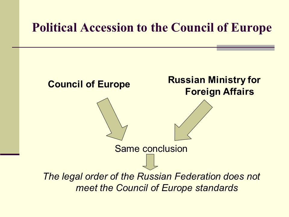 Political Accession to the Council of Europe Council of Europe Russian Ministry for Foreign Affairs Same conclusion The legal order of the Russian Federation does not meet the Council of Europe standards