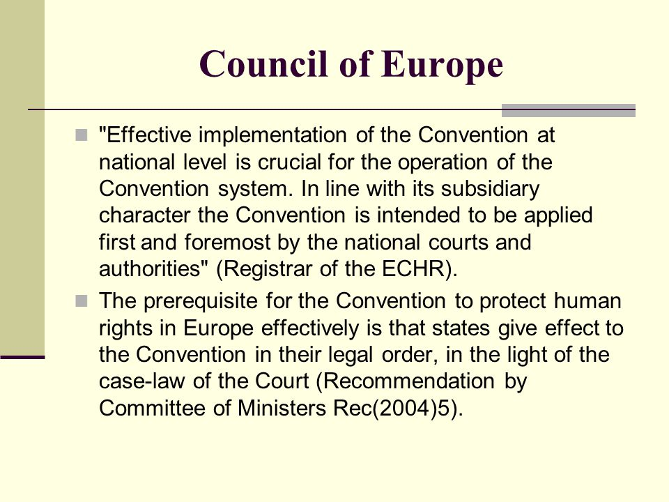 Council of Europe Effective implementation of the Convention at national level is crucial for the operation of the Convention system.
