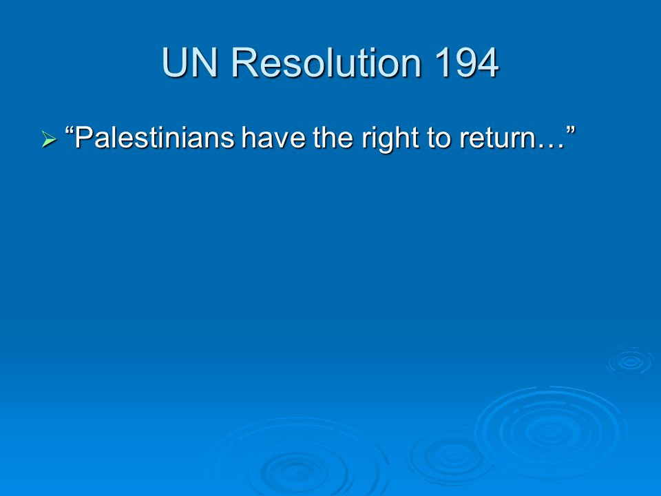 "UN Resolution 194  ""Palestinians have the right to return…"""