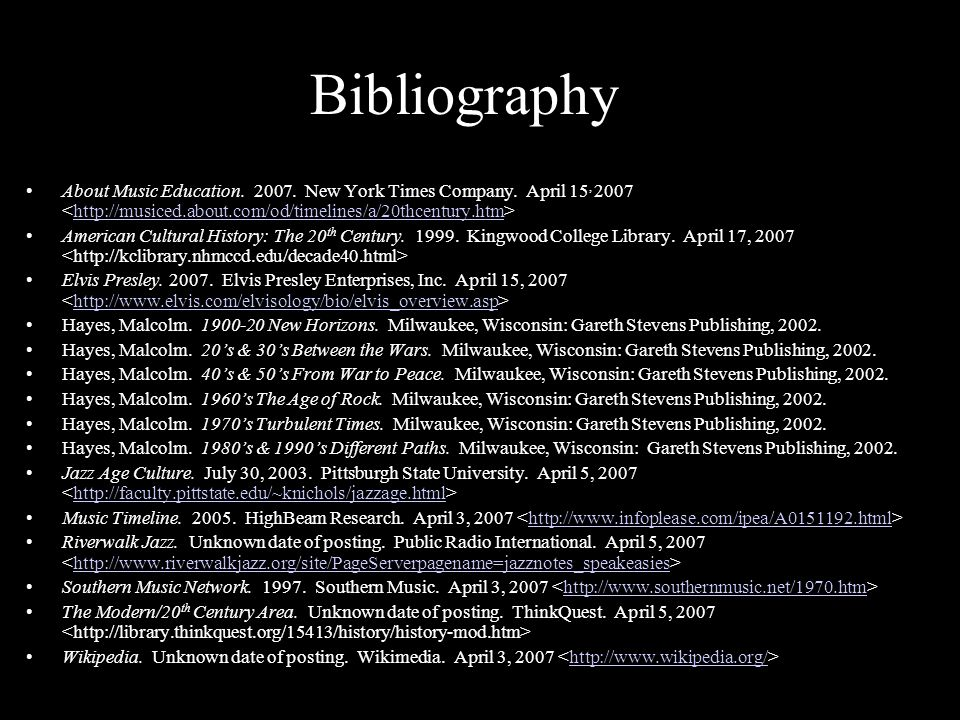 Bibliography About Music Education.2007. New York Times Company.