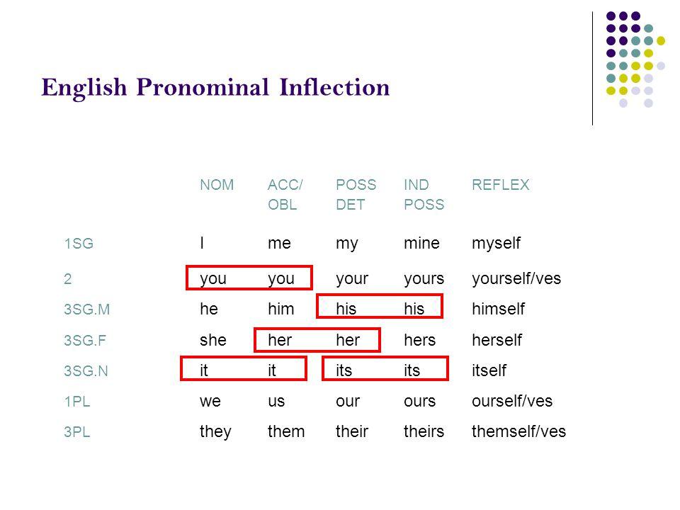English Pronominal Inflection NOMACC/POSSINDREFLEX OBLDETPOSS 1SG Imemyminemyself 2 youyouyouryoursyourself/ves 3SG.M hehimhishishimself 3SG.F sheherh