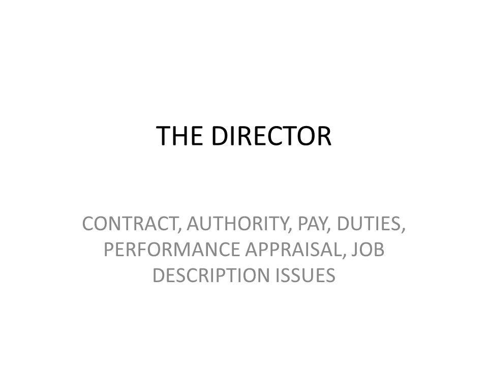 THE DIRECTOR CONTRACT, AUTHORITY, PAY, DUTIES, PERFORMANCE APPRAISAL, JOB DESCRIPTION ISSUES