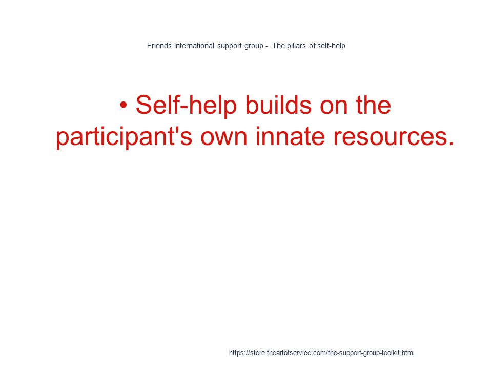 Friends international support group - The pillars of self-help 1 Self-help builds on the participant s own innate resources.
