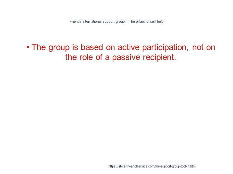 Friends international support group - The pillars of self-help 1 The group is based on active participation, not on the role of a passive recipient.