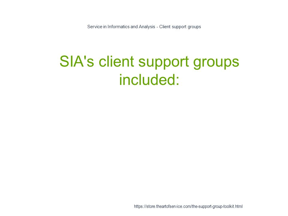 Service in Informatics and Analysis - Client support groups 1 SIA s client support groups included: https://store.theartofservice.com/the-support-group-toolkit.html