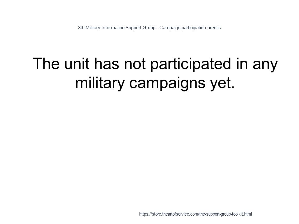 8th Military Information Support Group - Campaign participation credits 1 The unit has not participated in any military campaigns yet.