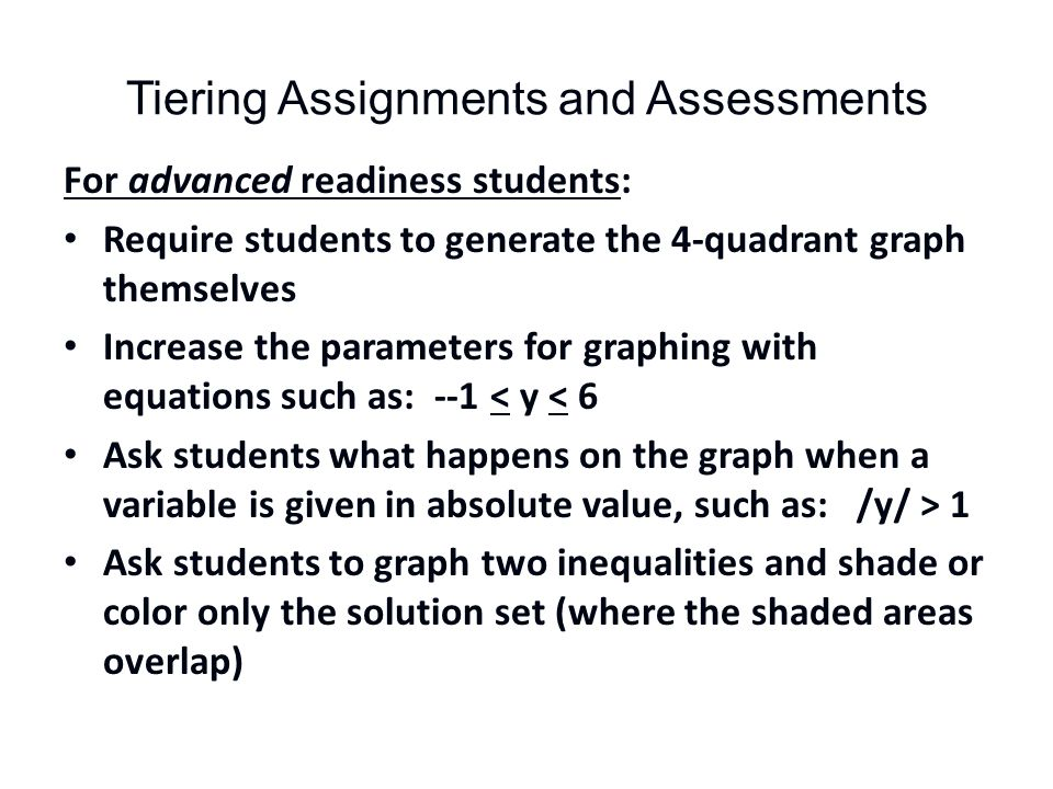 Tiering Assignments and Assessments For advanced readiness students: Require students to generate the 4-quadrant graph themselves Increase the parameters for graphing with equations such as: --1 < y < 6 Ask students what happens on the graph when a variable is given in absolute value, such as: /y/ > 1 Ask students to graph two inequalities and shade or color only the solution set (where the shaded areas overlap)