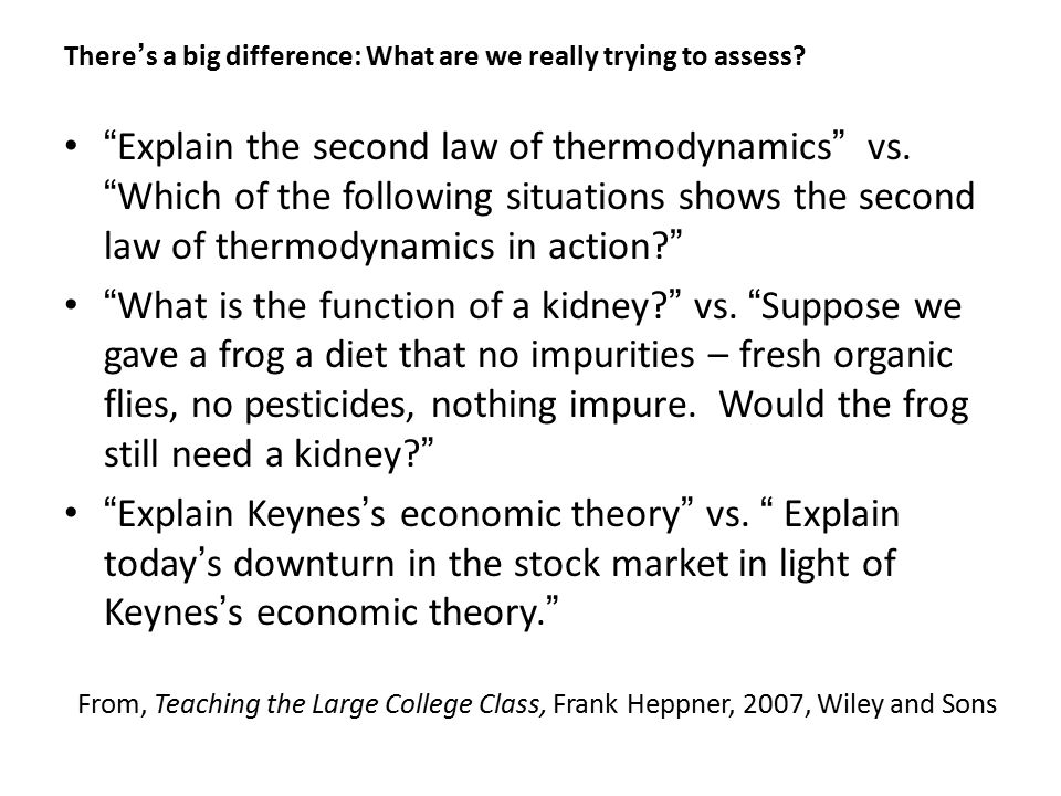 There's a big difference: What are we really trying to assess.