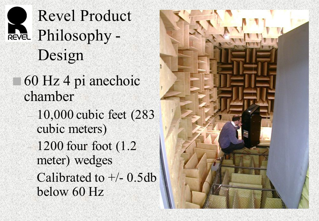 Revel Product Philosophy - Design n 60 Hz 4 pi anechoic chamber – 10,000 cubic feet (283 cubic meters) – 1200 four foot (1.2 meter) wedges – Calibrated to +/- 0.5db below 60 Hz
