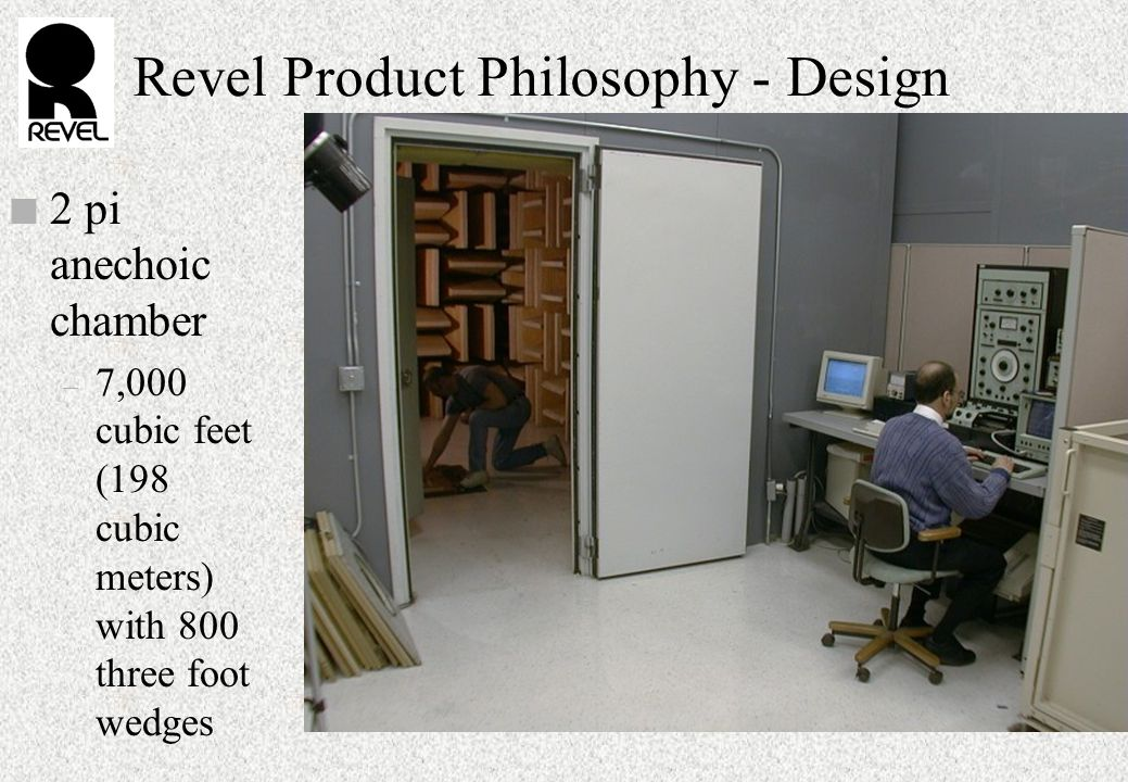 Revel Product Philosophy - Design n 2 pi anechoic chamber – 7,000 cubic feet (198 cubic meters) with 800 three foot wedges