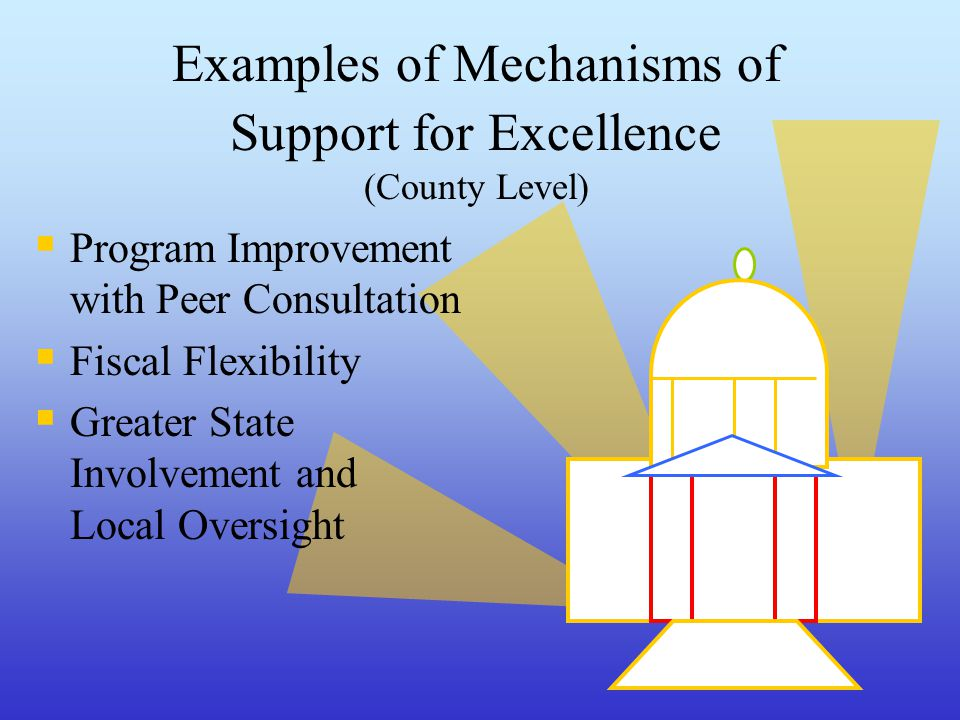 Examples of Mechanisms of Support for Excellence (County Level)  Program Improvement with Peer Consultation  Fiscal Flexibility  Greater State Involvement and Local Oversight