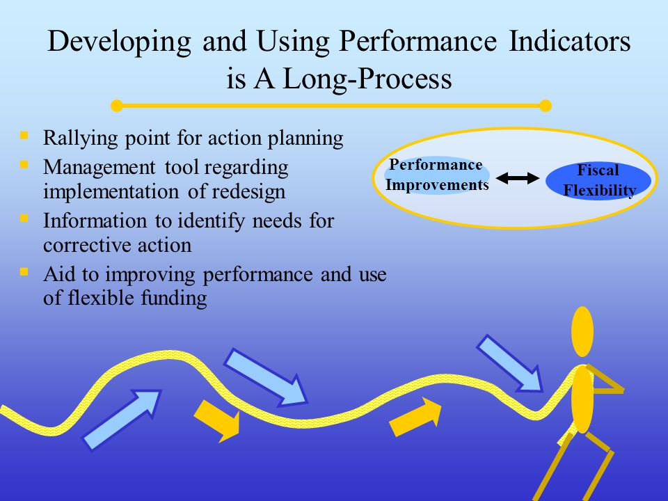 Developing and Using Performance Indicators is A Long-Process  Rallying point for action planning  Management tool regarding implementation of redesign  Information to identify needs for corrective action  Aid to improving performance and use of flexible funding Performance Improvements Fiscal Flexibility