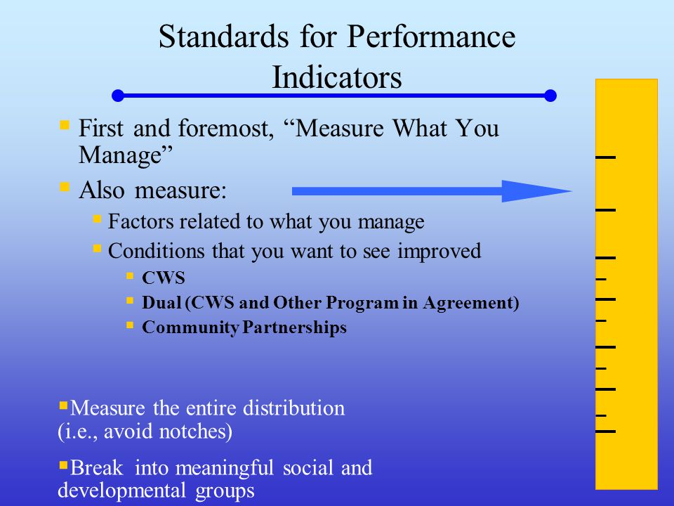 Standards for Performance Indicators  First and foremost, Measure What You Manage  Also measure:  Factors related to what you manage  Conditions that you want to see improved  CWS  Dual (CWS and Other Program in Agreement)  Community Partnerships  Measure the entire distribution (i.e., avoid notches)  Break into meaningful social and developmental groups